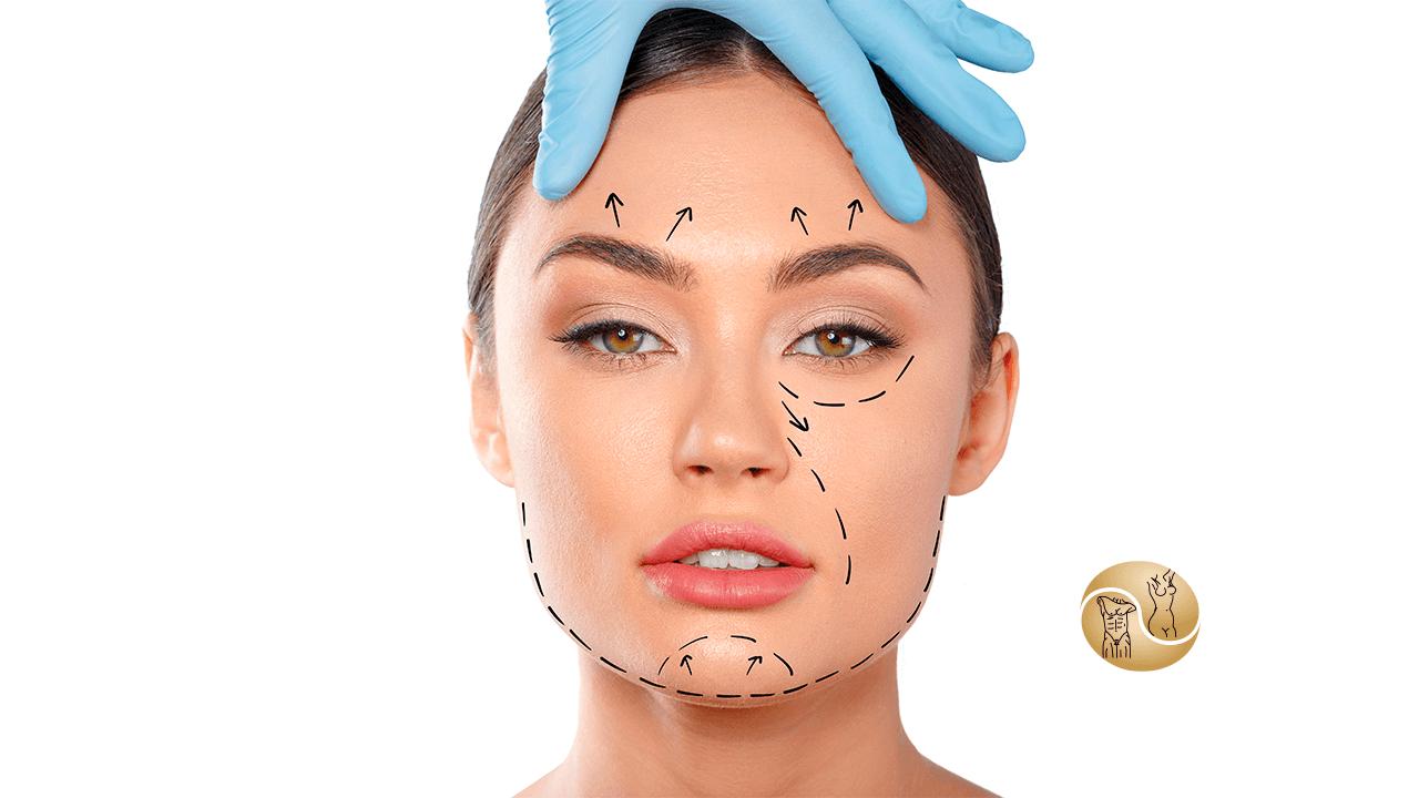 visual - na imagem um rosto de uma mulher branca com algumas marcações de futuras cirurgias para a melhora do visual